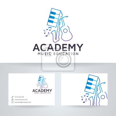 Musik Akademie Vektor Logo Mit Visitenkarte Vorlage