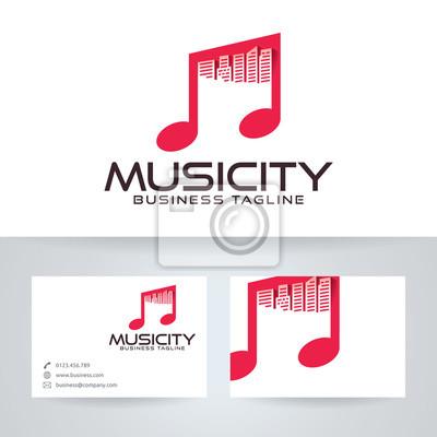Musik Stadt Vektor Logo Mit Visitenkarte Vorlage Fototapete