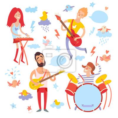 Musiker, Sänger und Vogel Cartoon Vektor set.Illustration Aufkleber, isoliert auf weißem Hintergrund
