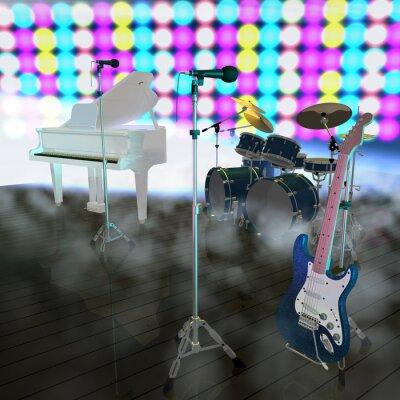 Musikinstrumente auf einer Musik- Bühne