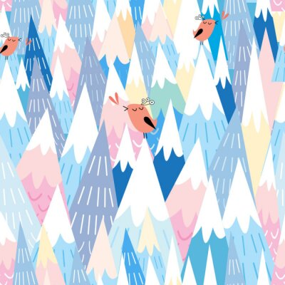 Fototapete Muster auf die Berge und die Vögel