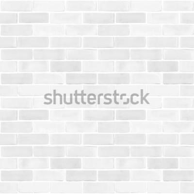 Fototapete Muster-Beschaffenheitshintergrund der nahtlosen Backsteinmauer weißer grauer Farb