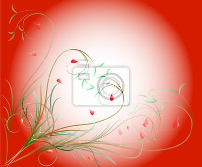 Muster der Schriftrollen und Blätter auf rotem Hintergrund