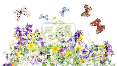 Fototapete Muster Der Wiesenblumen. Blumen Und Schmetterlinge Hintergrund.  Dekoration Mit Blühenden Blumen. Weißer