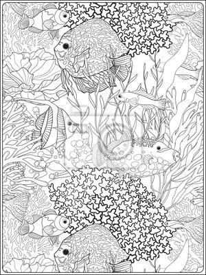 Muster Mit Dekorativen Korallen Und Meer Oder Aquarium Fisch