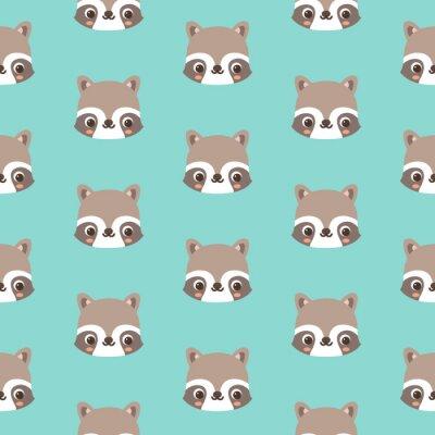 06c397a9234749 Fototapete Muster mit doodle Waschbären Gesicht  Tier Vektor nahtlose Muster
