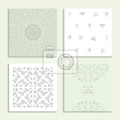 Muster mit floralen Elementen. Satz von vier Karten. Vektor