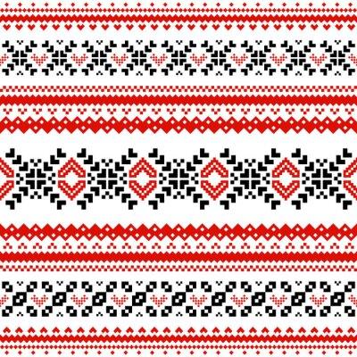Fototapete Muster mit Linien der skandinavischen Herzen