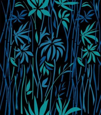 Fototapete Muster von Bambusdickichten von Smaragdblättern und von blauen Niederlassungen auf einem schwarzen Hintergrund