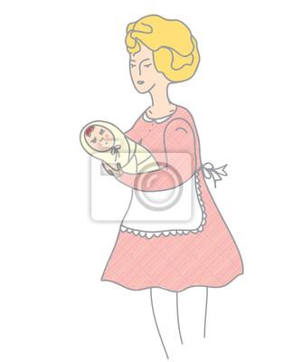 Mutter und Baby retro-Stil Illustration