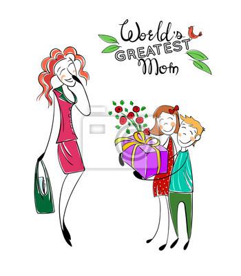 Muttertag. glückliche mutter mit kindern. gruß mom with present ...