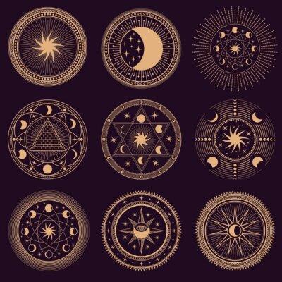 Fototapete Mystic circle symbols. Vector illustration set. Astrology moon and pyramid, eclipse spirituality, freemasonry mysterious collection round emblems