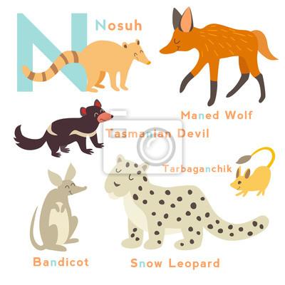 N Brief Tiere gesetzt. Englisches Alphabet. Vektor-Illustration, isoliert auf weißem Hintergrund