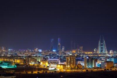 Fototapete Nachtskyline von Manama, der Hauptstadt von Bahrain