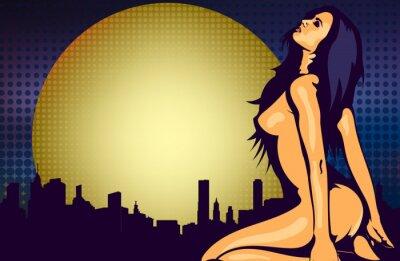 Fototapete Nackte Frau in der Nähe des Fensters mit Nacht Stadtansicht, Design-Vektor-Vorlage