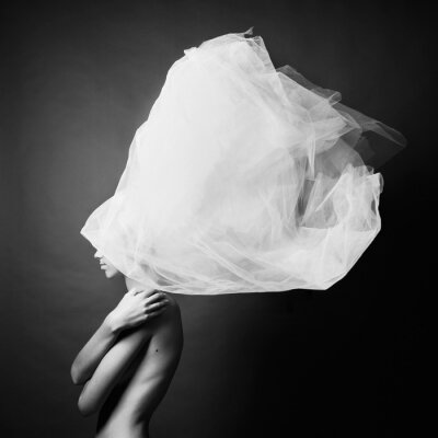 Fototapete Nackte Frau in eleganten Turban