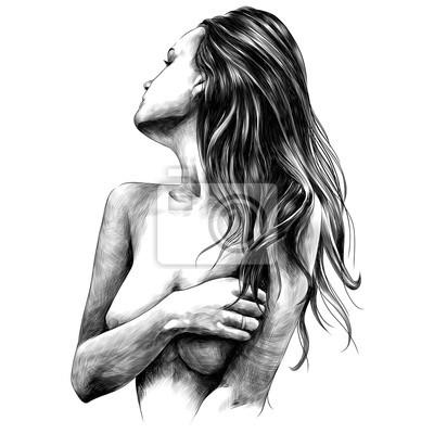 Fototapete nackte Mädchen wirft Vektor-Monochrom-Schwarzweiss-Zeichnung der Skizzenvektorgrafik auf