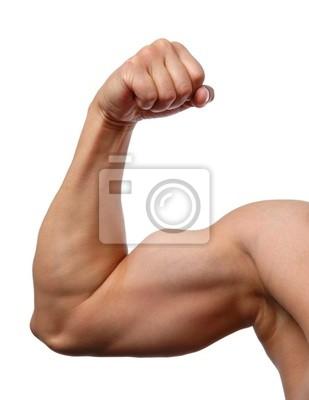 Nahaufnahme der Mann den Arm zeigt Bizeps