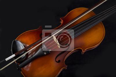 Nahaufnahme Erhöhte Ansicht Von Violine Und Bogen