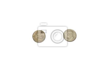Nahaufnahme Von 1 Baht Thai Münzen Isoliert Auf Weißem Hintergrund