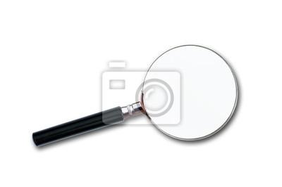 Nahaufnahme von einer Lupe auf weißem Hintergrund