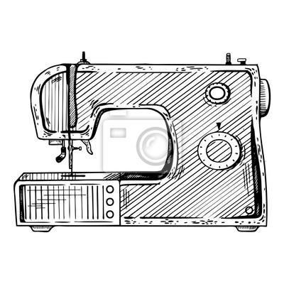 Nähmaschine gravur vektor-illustration fototapete • fototapeten ...