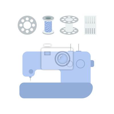 Nähmaschine-symbol mit verwandten zubehör fototapete • fototapeten ...