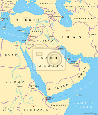 Nahost Karte.Fototapete Nahost Politische Karte Mit Hauptstädten Und Landesgrenzen Die