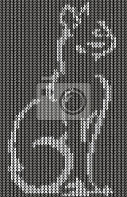 fototapete nahtlos gestrickt hintergrund katze jacquard muster abbildung - Jacquard Muster