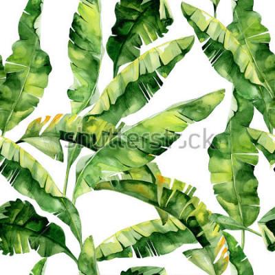 Fototapete Nahtlose Aquarellillustration von tropischen Blättern, dichter Dschungel. Muster mit tropischem Sommerzeitmotiv kann als Hintergrundbeschaffenheit, Packpapier, Gewebe, Tapetendesign verwendet werden.