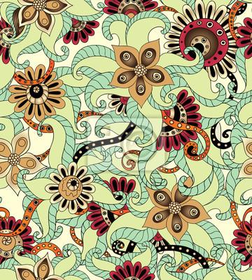 Nahtlose Blumenmuster im Retro-Hintergrund Vektor