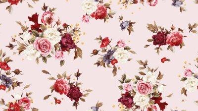 Fototapete Nahtlose Blumenmuster mit Rosen, Aquarell.