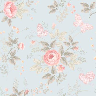Fototapete Nahtlose Blumenmuster mit Rosen und Schmetterlingen