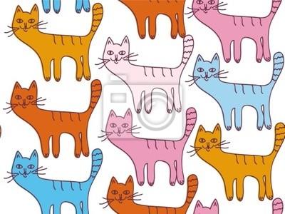 Nahtlose Cartoon-Muster mit lustigen Katzen