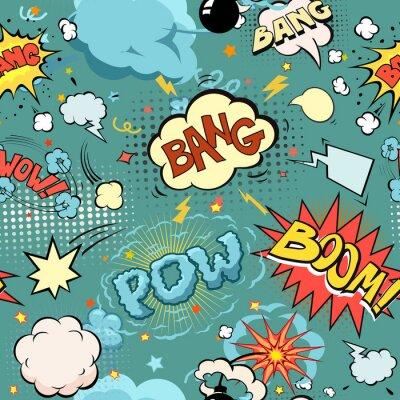 Fototapete Nahtlose Comic-Buch Explosion, Bomben Und Explosion Set. Blasen für Sprache, verschiedene Töne und Pfeile.