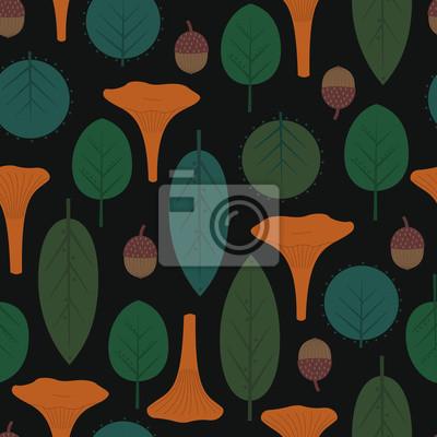 Fototapete Nahtlose dekorative Muster mit Blättern, Pilzen und Eicheln auf dunklem Hintergrund. Herbstlaub-Muster mit Pfifferlingen. Trendy Wald Abbildung. Design für Textilien, Tapeten, Stoffe.