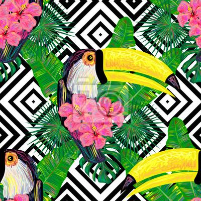 Fototapete Nahtlose Dschungel Muster Mit Tukan Exotischen Vogel, Palm  Blätter, Tropische Hibiskus