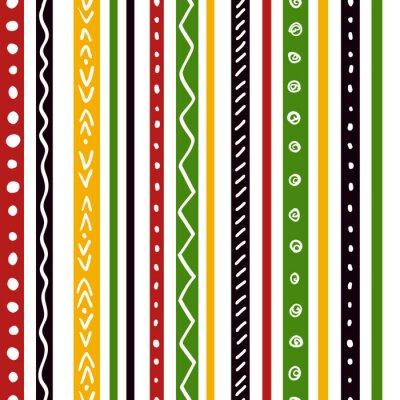 Fototapete Nahtlose ethnische Muster mit grünen, gelben, roten Farbstreifen. Wiederholen Sie gerade Streifen Textur Hintergrund, Vektor.