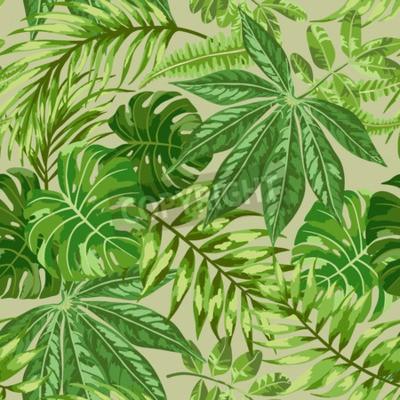 Fototapete Nahtlose exotische Muster mit tropischen Blättern auf einem beige Hintergrund. Vektor-Illustration.