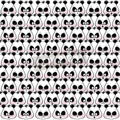 Fototapete Nahtlose farbigen hintergrund von lustigen muzzles pandas. Illustratio
