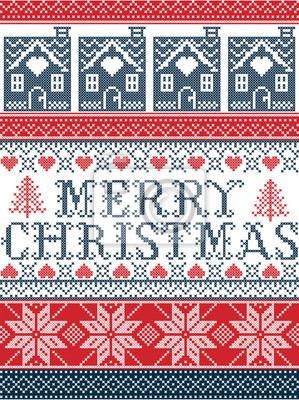 Frohe Weihnachten Norwegisch.Fototapete Nahtlose Frohe Weihnachten Skandinavischen Stoff Stil Inspiriert