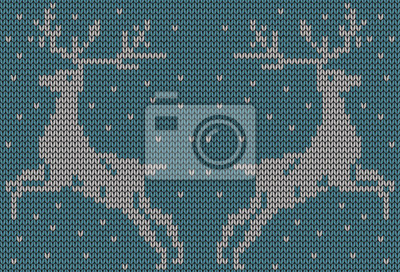 fototapete nahtlose gestrickten hintergrund hirsche jacquard muster abbildung - Jacquard Muster