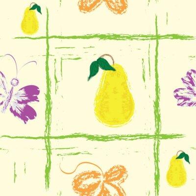 Fototapete Nahtlose Grunge Muster mit Schmetterling, Birnen und Blatt
