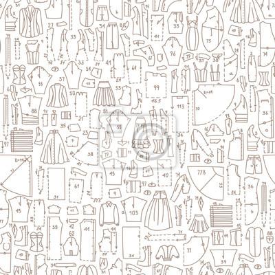 Nahtlose hand gezeichnet doodle muster mit kleidung und nähmuster ...