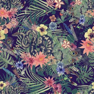 Fototapete Nahtlose Hand gezeichnetes Aquarellmuster mit Boa, Blumen, Federn.