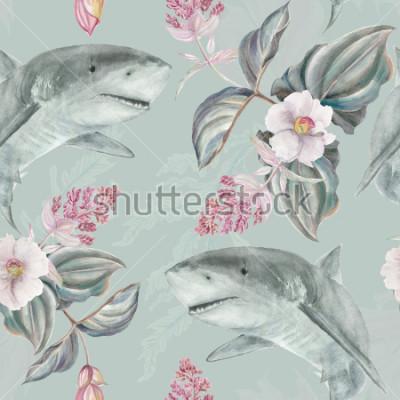 Fototapete Nahtlose Hand illustrierte Blumenmuster mit rosa Medinilla Magnifica und Haifisch