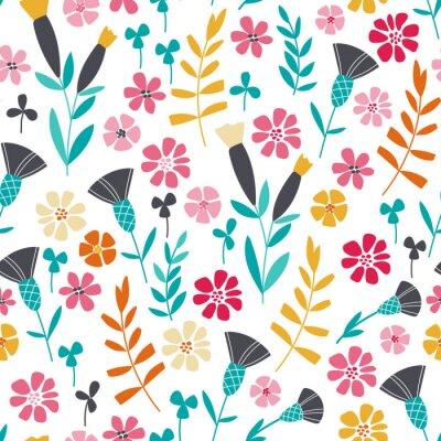 Fototapete Nahtlose helle skandinavischen Blumenmuster