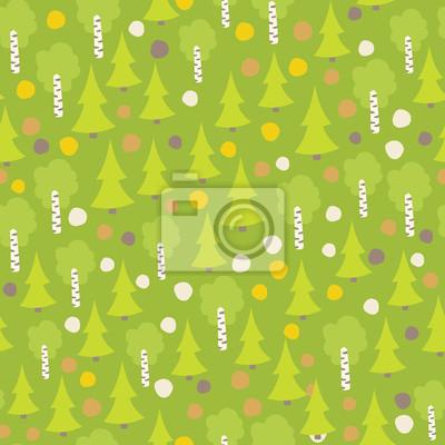 Nahtlose Herbst Wald Muster. .Vintage Wald nahtlose Muster mit Tanne und Birke. Vector Hintergrund für Kinder, Kinder