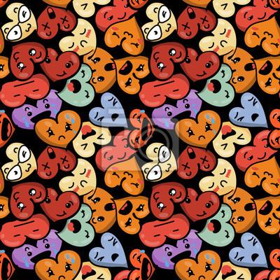 Nahtlose Herz Hintergrund Mit Emoji Zum Heiligen Valentinstag
