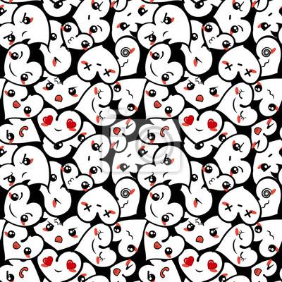 Nahtlose Herzen Hintergrund Mit Emoji Zum Valentinstag Fototapete